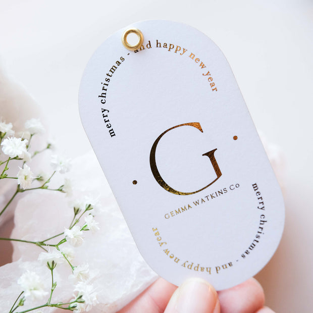 95mm x 52mm Digital Foiled Oval Tags (Single Sided)