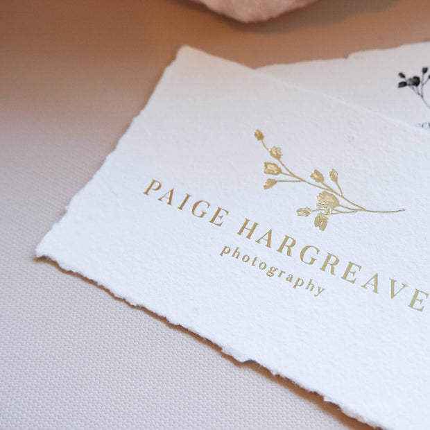 A7 Handmade Paper Business Cards with Hot Foil Pressed Logo