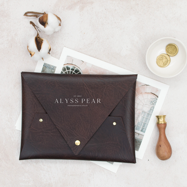 "8""x10"" Faux Leather Print Pouch"