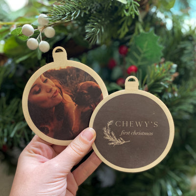 """Pets First Christmas"" Photo Christmas Bauble"
