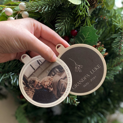 """Always In Our Hearts"" Photo Christmas Bauble"