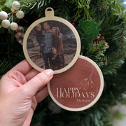"""Happy Holidays"" Photo Christmas Bauble"