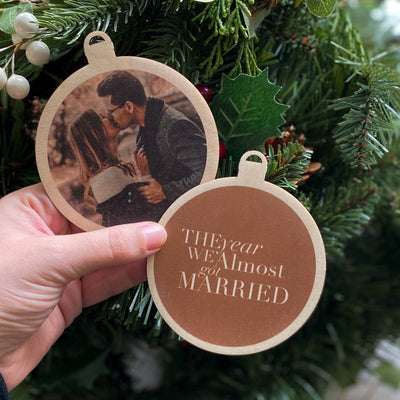 """Almost Married"" Photo Christmas Bauble"