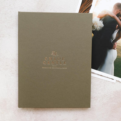 Handcrafted Forest Green Buckram Print Folio (Foiled Logo)