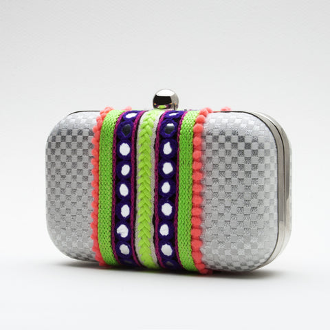 Neon and Silver Box Clutch