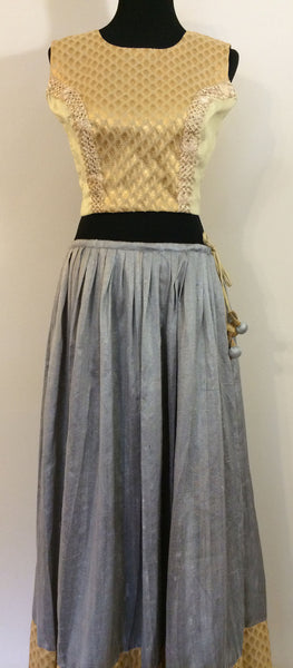 Grey and Gold Raw Silk Lehnga