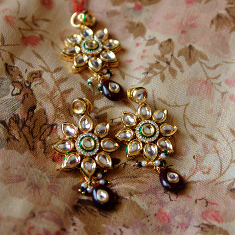 Kundan Pendant and Earing