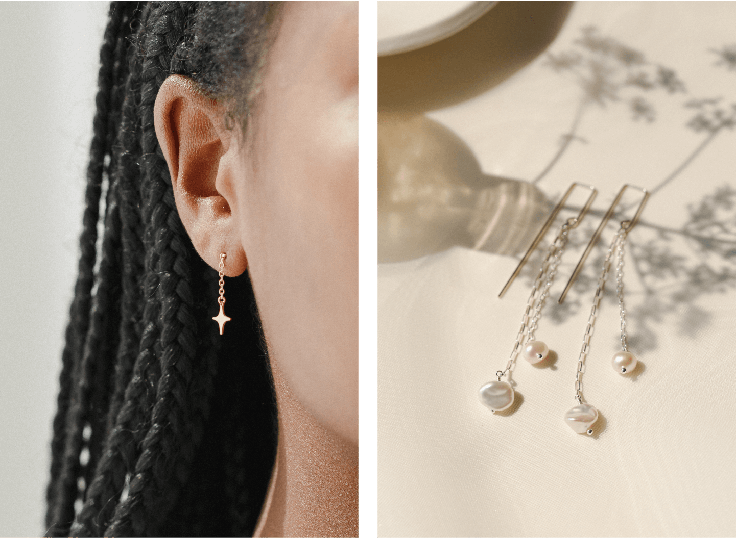 Celine Drops and Sequana Pearl Drop Earrings