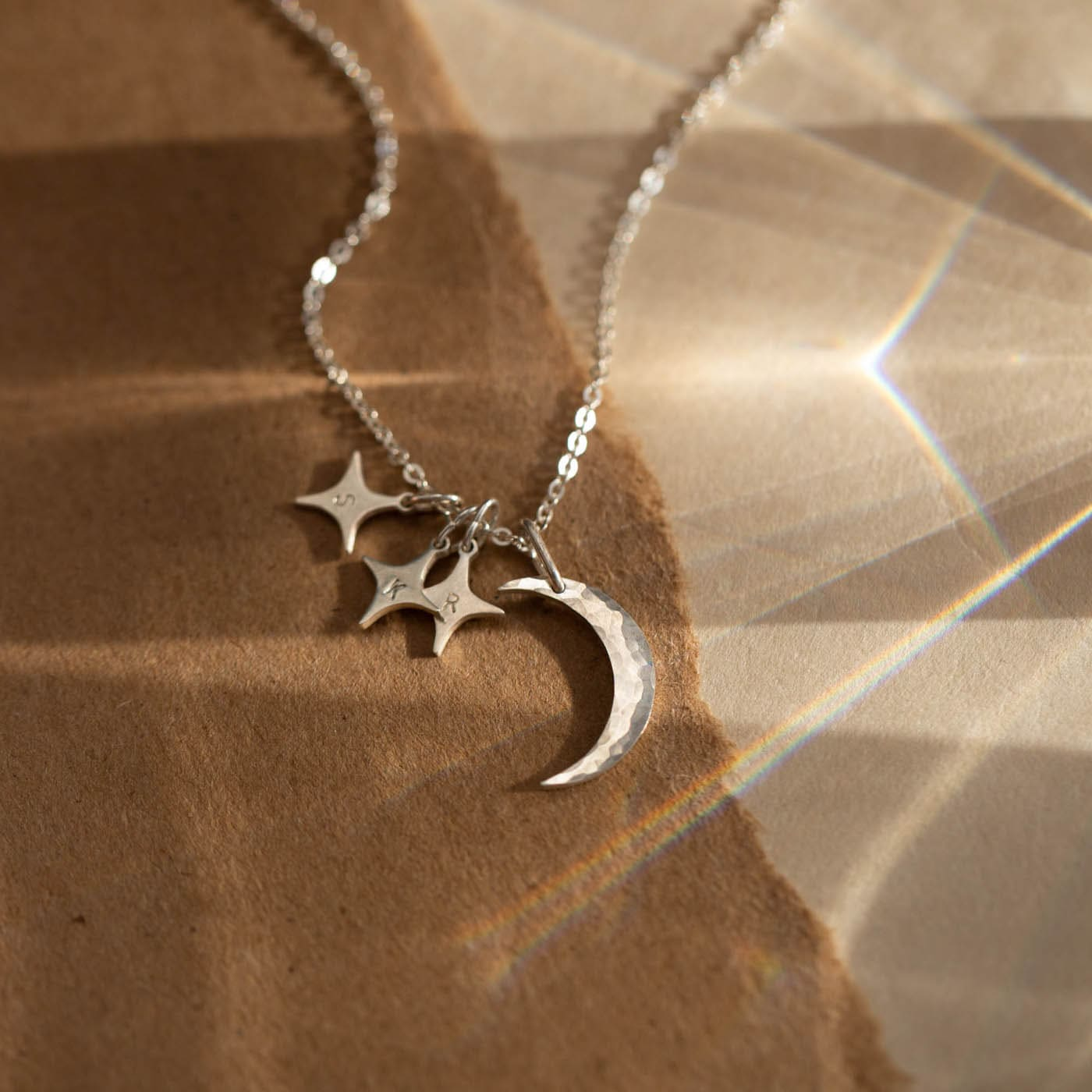 Necklace Ras of the Neck Long Golden Pendant Moon Star Leather Syt Simple 3 in 1