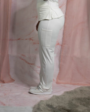 White High Waist Scrub Pant