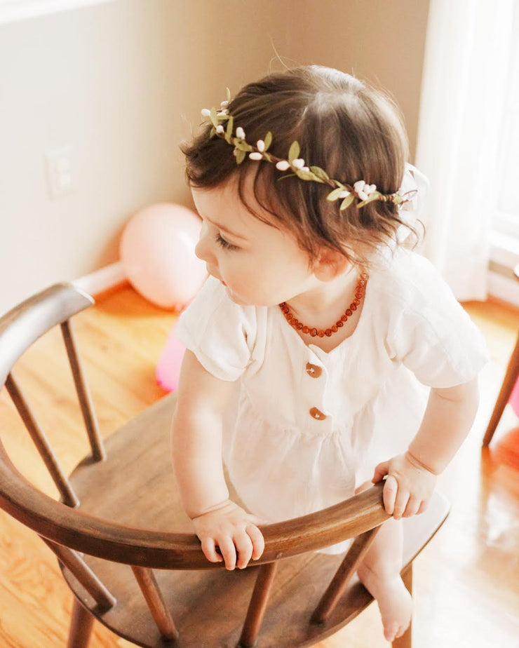 Simple Baby Girl Flower Crown White and Green Halo Rustic Wedding Birthday Girls Fairy Woodland Wreath