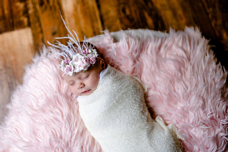 Handcrafted Pink and White Rose Baby Headband
