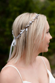 Handcrafted Silver and White Simple Crown Minimalist Bridal Headband Rustic Bridesmaid Hair Accessory New Years