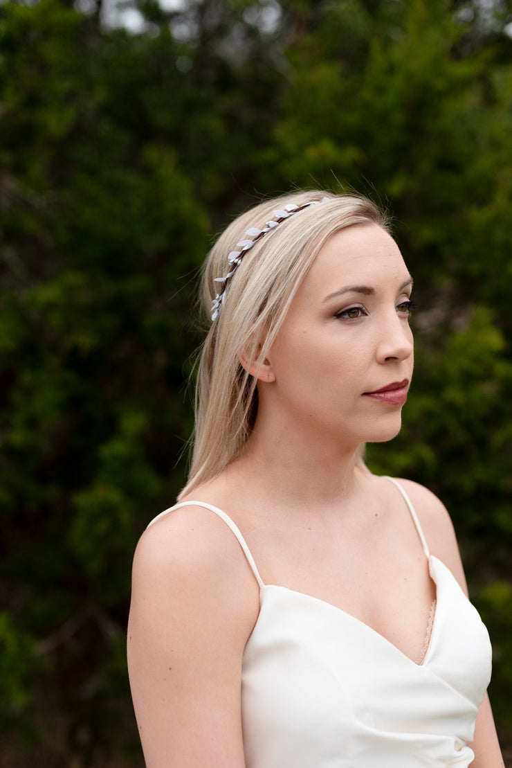 Handcrafted Silver and White Simple Crown