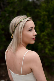 Handcrafted Simple Gold and Green Leaf Crown