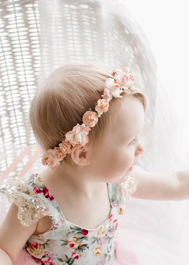 Handcrafted Peach Flower Girl Crown