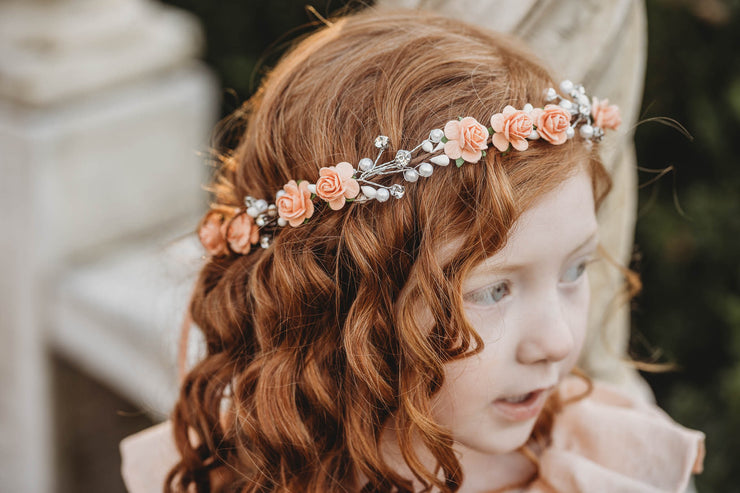 Handcrafted Peach Pearl Flower Crown
