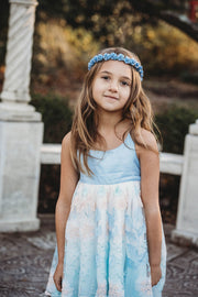 Handcrafted Dusty Blue Flower Crown