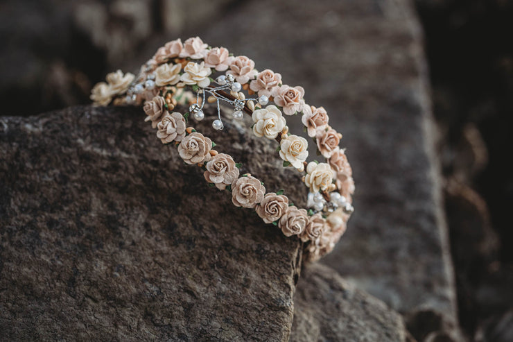 Handcrafted Small Blush Champagne Flower Crown