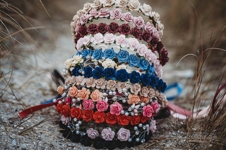 Handcrafted Navy Blue Flower Crown