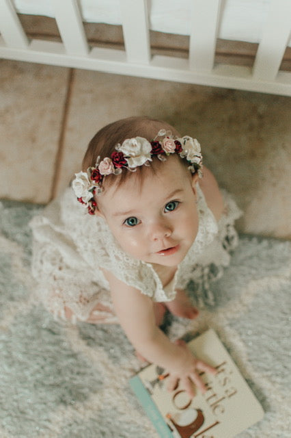 Handcrafted Baby Burgundy White and Pastel Pink Flower Crown