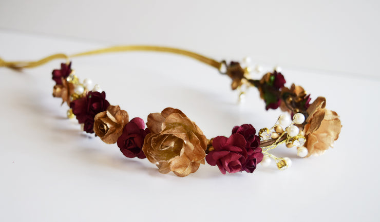 Handcrafted Romantic Burgundy and Gold Pearl Flower Crown