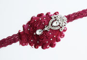 Handcrafted Rich Burgundy 20's Feather Headband