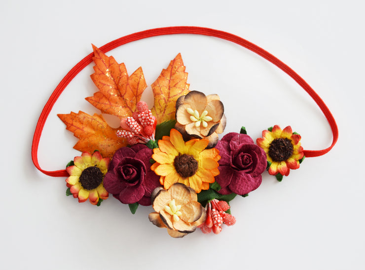 Handcrafted Autumn Sunflower Baby Headband