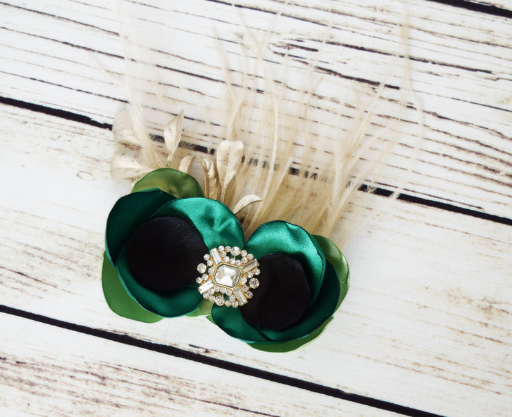 Handcrafted Emerald Champagne and Black Hair Clip