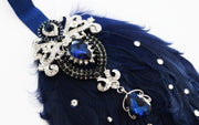 Handcrafted 20's Sapphire and Navy Blue Feather Headband