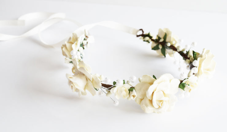 Handcrafted Soft Ivory Rose Pearl Flower Crown