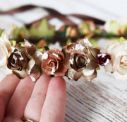 Snow Dusted Rustic Flower Crown Dark Brown Taupe Burgundy Red Floral Wreath Bridal Accessory Flower Girl Proposal Mountain Wedding