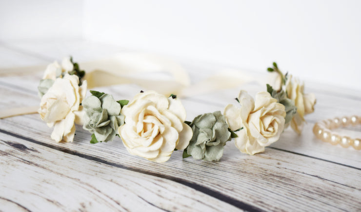 Handcrafted Sage and Ivory Flower Girl Crown