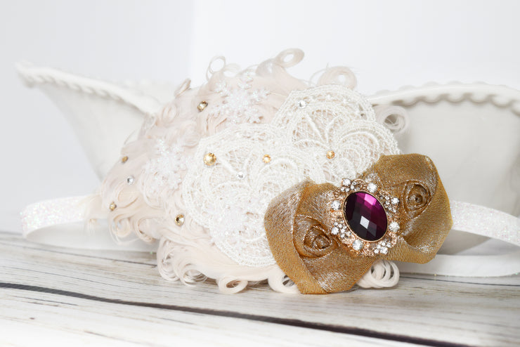 Princess Anna Proposal Headband Champagne Gold Cream and Purple 1920's Inspired Frozen Bow Fancy Gifts for Girls