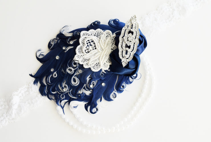 Handcrafted Art Deco Navy Blue and White Headband
