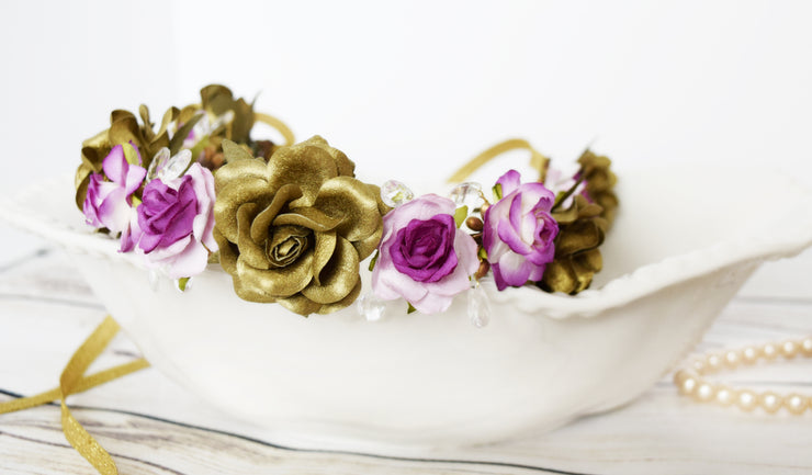 Handcrafted Princess Fuchsia Purple and Gold Teardrop Crystal Flower Crown
