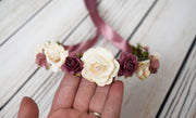 Handcrafted Cream Mauve and Dusty Rose Flower Girl Crown