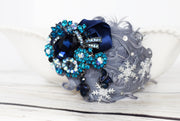 Handcrafted 1920's Gray and Blue Snowflake Headband