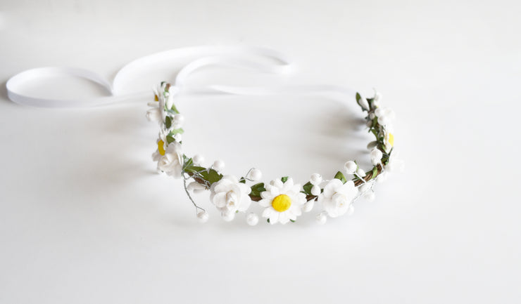 Handcrafted Daisy and Rose Pearl Flower Crown