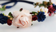 Handcrafted Rustic Navy Burgundy Blush Flower Crown