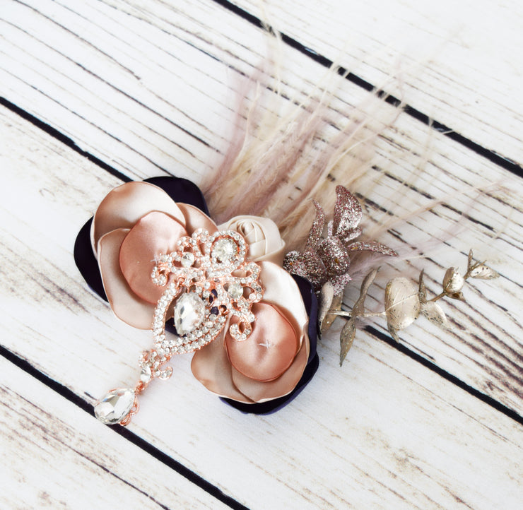 Handcrafted Princess Anna Champagne Cream Rose Gold and Purple Fancy Hair Clip