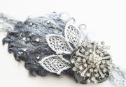 Handcrafted Sparkly 20's Grey Snowflake Feather Headband