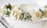 Handcrafted Rustic Sage Green and Ivory Cream Flower Girl Crown Small Floral Halo Bridal Headband Bridesmaid Wreath Bohemian