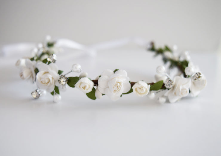 Handcrafted Dainty White Pearl Rose Flower Crown
