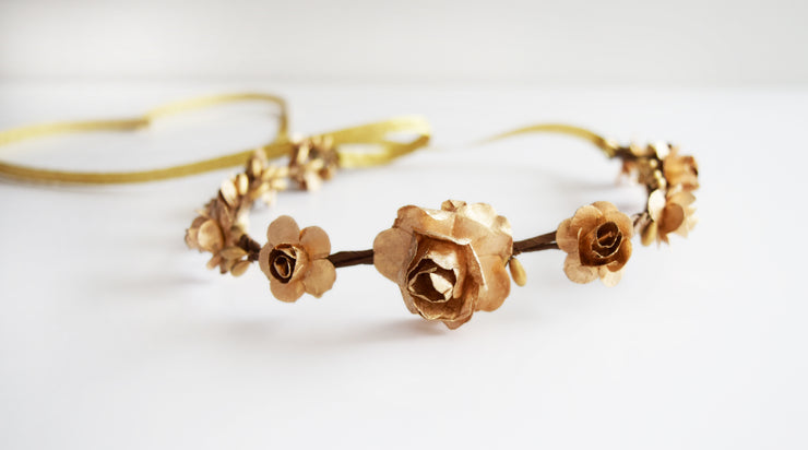 Handcrafted Gold Goddess Flower Crown