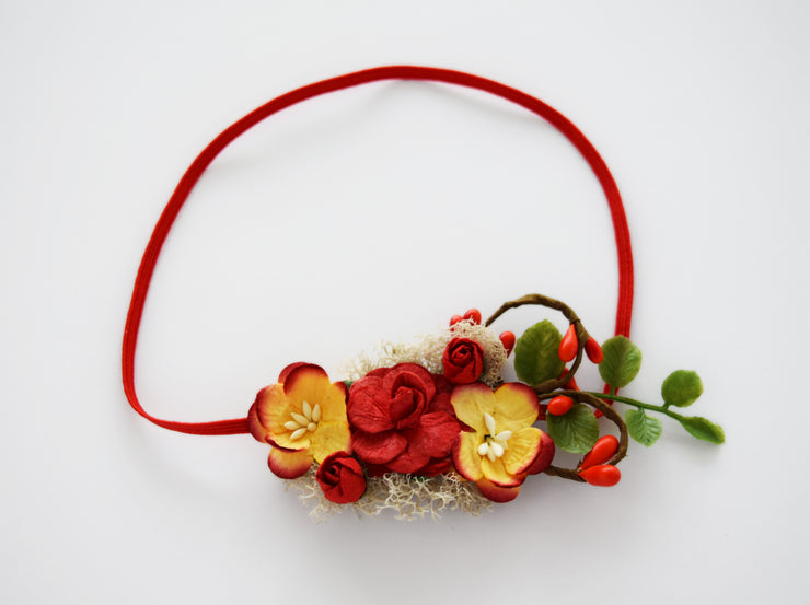 Handcrafted Autumn Red and Yellow Newborn Headband