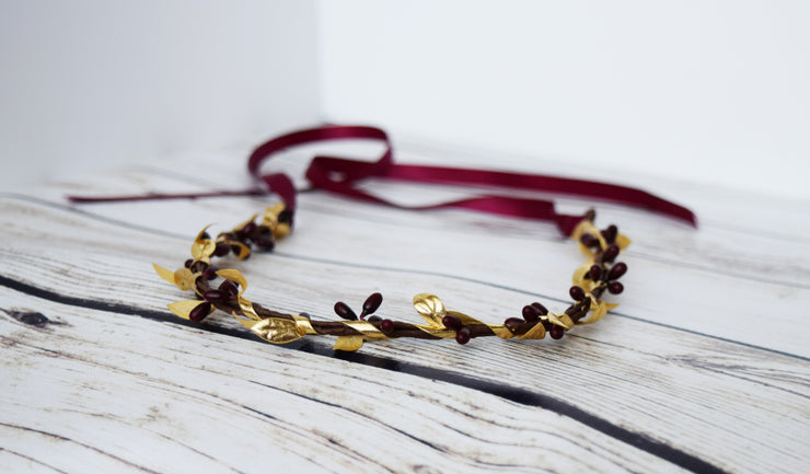 Handcrafted Burgundy and Gold Leaf Simple Crown