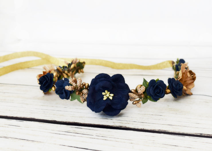 Handcrafted Navy Blue and Gold Flower Girl Crown