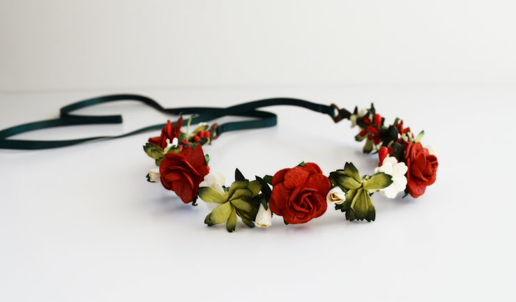 Handcrafted Rustic Red Green Ivory Flower Crown