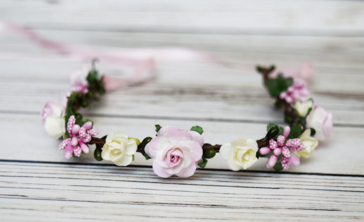 Small Pastel Pink and Ivory Woodland Flower Crown with Berries Flower Girl Halo Bridal Wedding Headpiece Roses